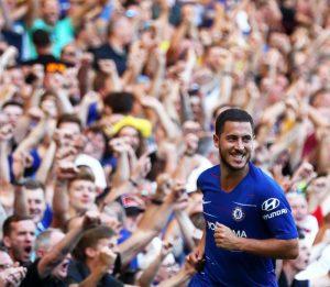 Эден Азар празднует гол в ворота «Борнмута»