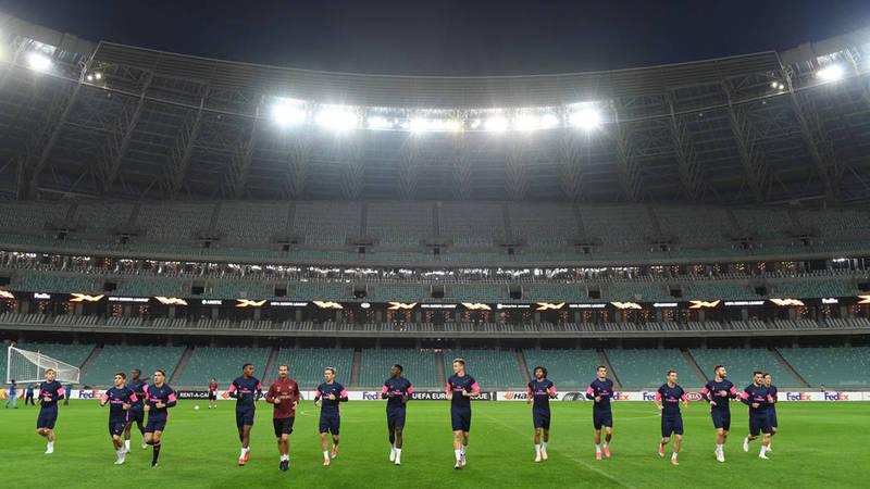 «Арсенал» на тренировке перед выездным матчем против «Карабаха»