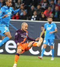 Давид Силва забивает гол в выездном матче «Манчестера Сити» против «Хоффенхайма» (1:2)