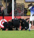 Игроки «ДС Юнайтед» празднуют гол в домашнем матче против «Далласа» (1:0)