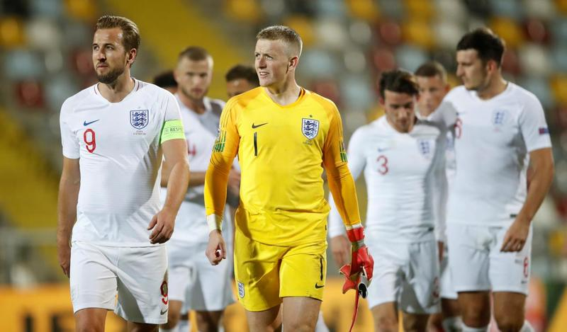 Сборная Англии в выездном матче против Хорватии (0:0)