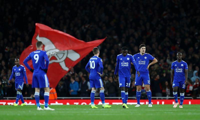 Игроки «Лестера Сити» в выездном матче против «Арсенала» (3:1)