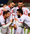 Игроки сборной Македонии празднуют гол в выездном матче против Лихтенштейна (0:2)