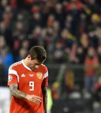 Фёдор Смолов в выездном матче сборной России против Бельгии (3:1)